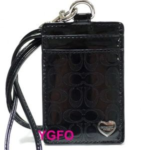 COACH Gloss Black ID Lanyard Holder Heart charm